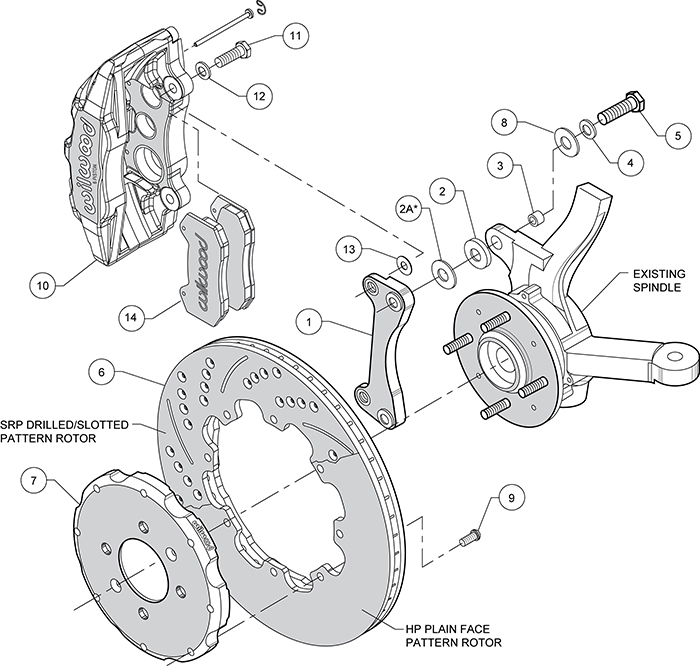 Dynapro 6 Big Brake Front Brake Kit (Hat) Assembly Schematic