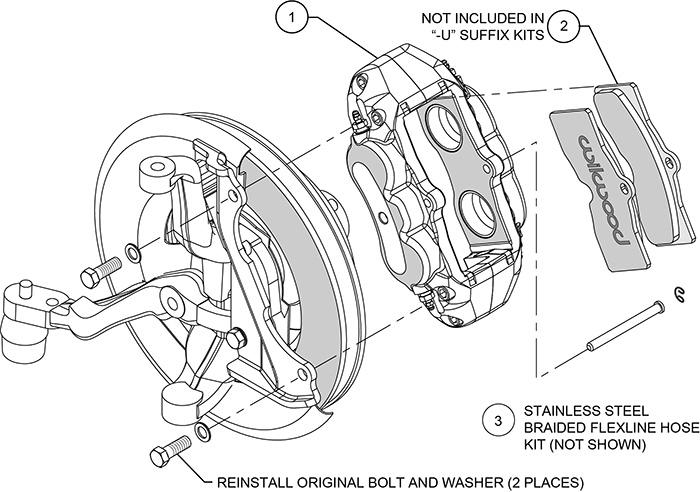 D8-4 Front Replacement Caliper Kit Assembly Schematic