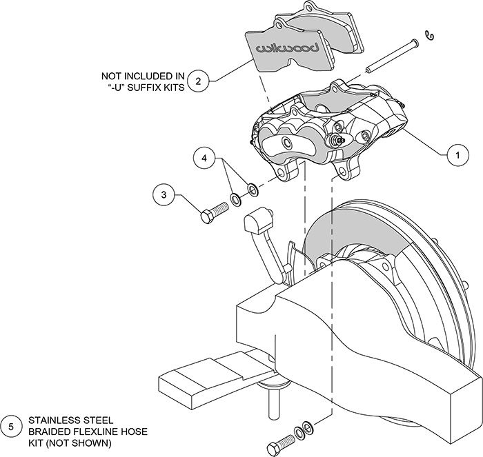 D8-4 Rear Replacement Caliper Kit Assembly Schematic