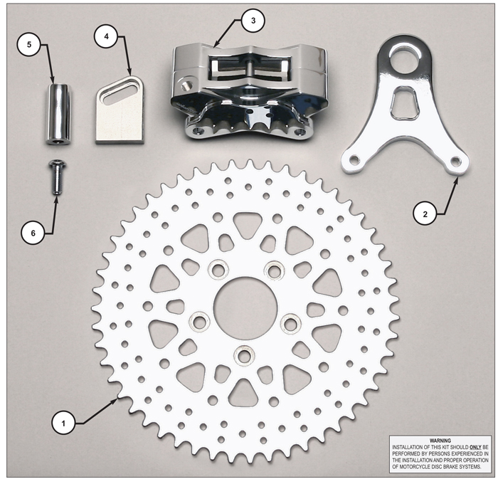 GP310 Motorcycle Rear Sprocket Brake Kit Assembly Schematic
