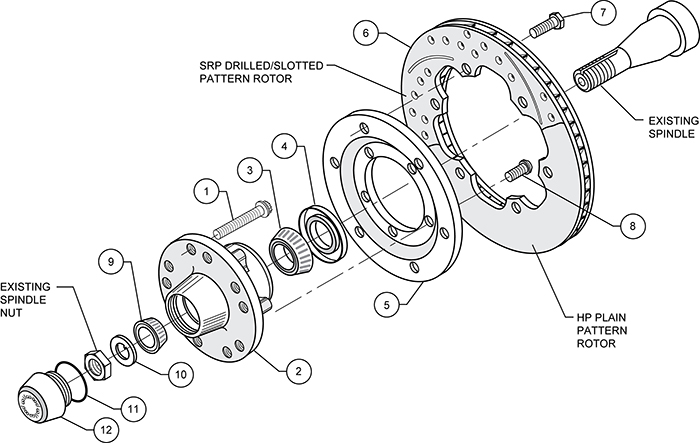 Front Hub Kit (6 Bolt Rotor) Assembly Schematic