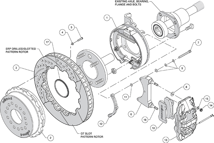 AERO4 Big Brake Rear Parking Brake Kit Assembly Schematic