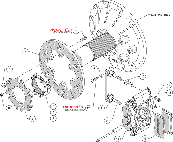 Billet Narrow Dynalite Radial Mount Midget Inboard Brake Kit Assembly Schematic