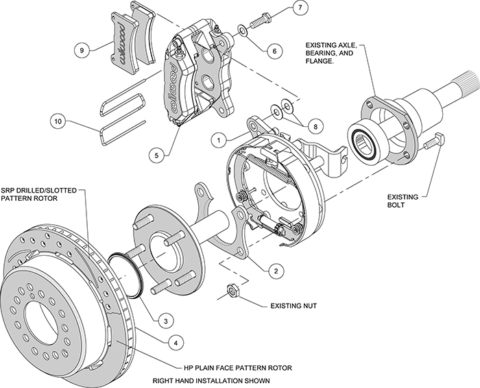Forged Dynapro Low-Profile Rear Parking Brake Kit Assembly Schematic