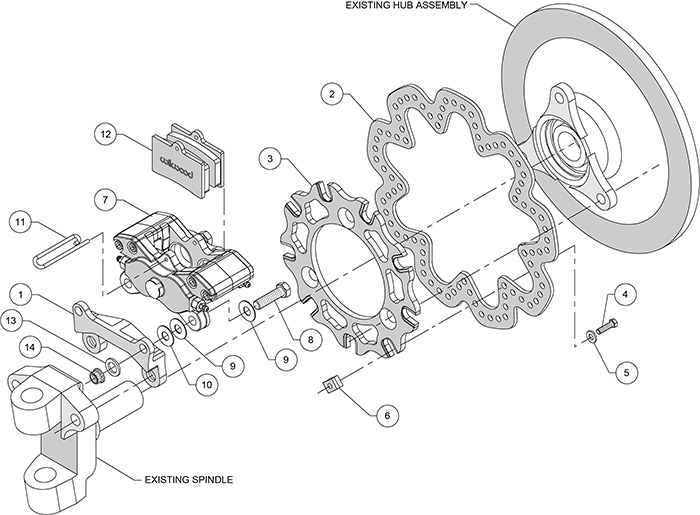 GP320 Sprint Left Front Brake Kit Assembly Schematic