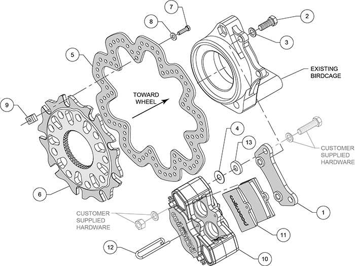 GP320 Sprint Right Rear Brake Kit Assembly Schematic