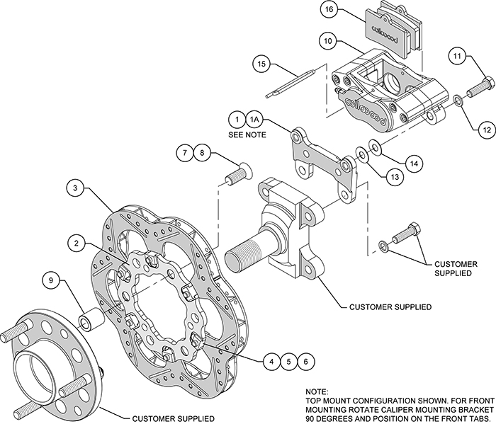 GP320 Midget Front Brake Kit Assembly Schematic