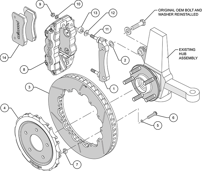 W4A Big Brake Front Brake Kit (Race) Assembly Schematic