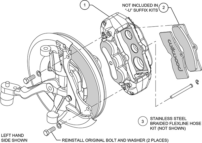 D8-6 Front Replacement Caliper Kit Assembly Schematic