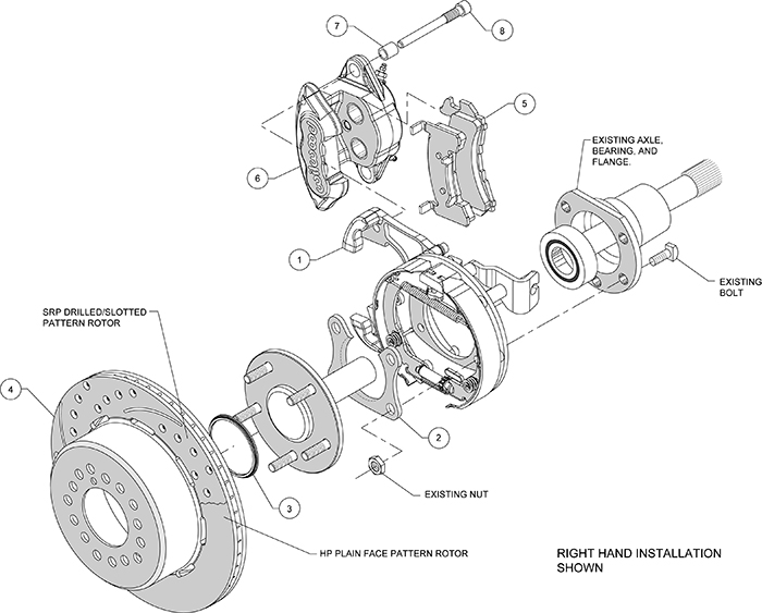 D154 Rear Parking Brake Kit Assembly Schematic