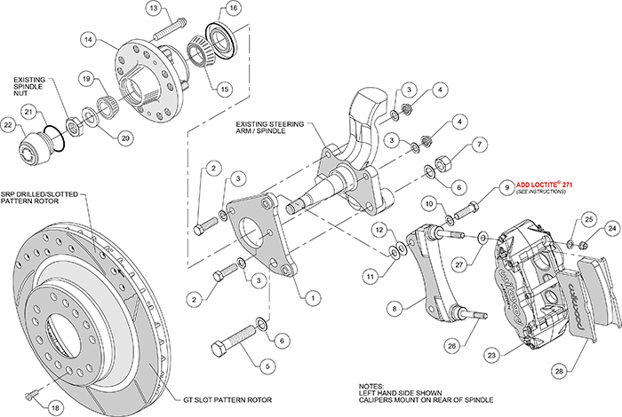 Forged Narrow Superlite 6R Big Brake Front Brake Kit (Hub and 1PC Rotor) Assembly Schematic
