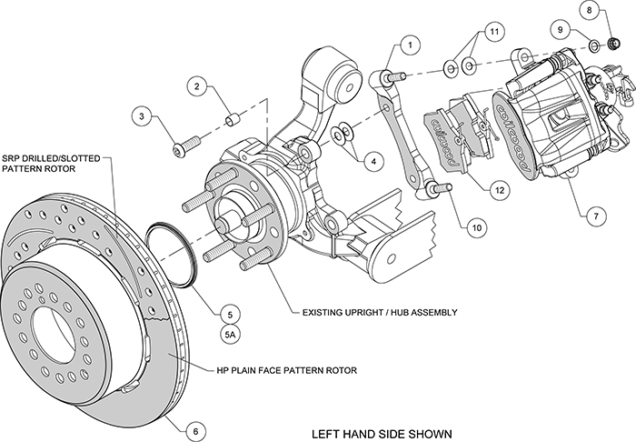 Combination Parking Brake Caliper 1Pc Rotor Rear Brake Kit Assembly Schematic