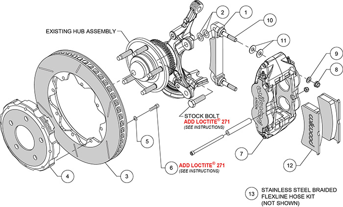 Forged Superlite 4R Big Brake Front Brake Kit (Race) Assembly Schematic