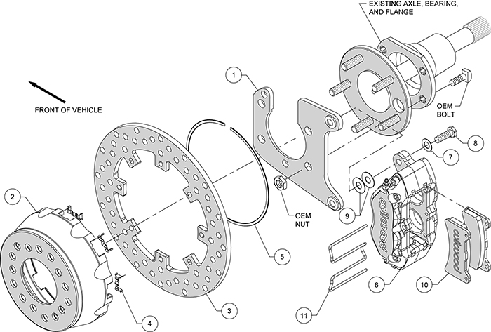 Dynapro SA Lug Drive Dynamic Rear Drag Brake Kit Assembly Schematic
