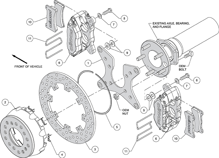 Dynapro Dual SA Lug Drive Dynamic Rear Drag Brake Kit Assembly Schematic