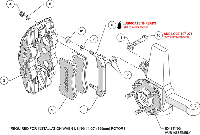 AERO6 Front Caliper and Bracket Upgrade Kit for Corvette C5-C6 Assembly Schematic