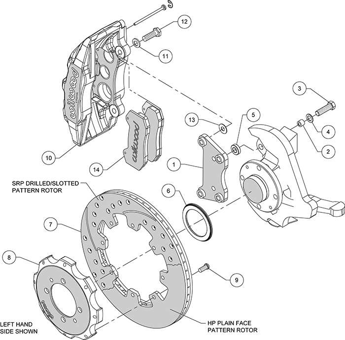 Forged Dynapro 6 Big Brake Front Brake Kit (Hat) Assembly Schematic