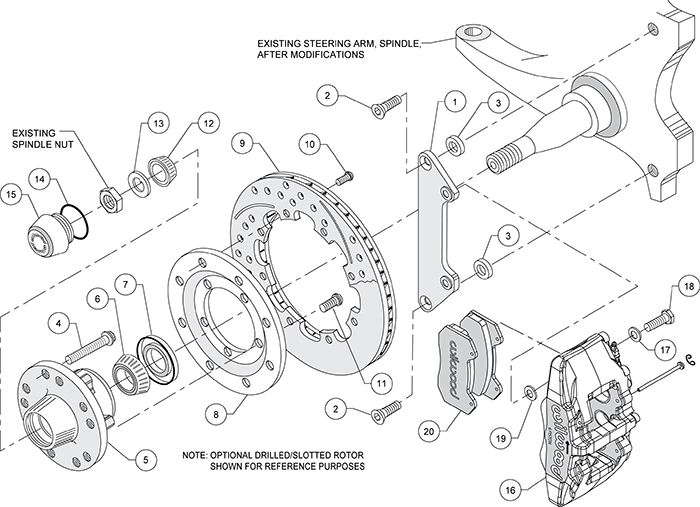 Forged Dynapro 6 Big Brake Front Brake Kit (Hub) Assembly Schematic