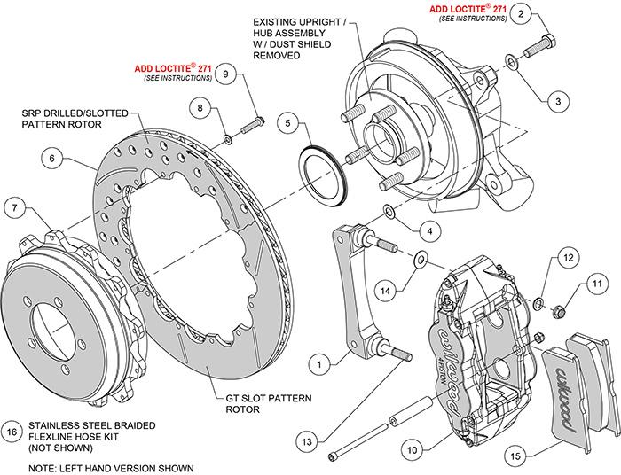 Forged Narrow Superlite 4R Big Brake Rear Brake Kit For OE Parking Brake