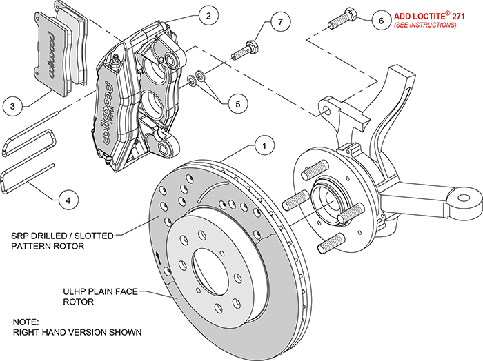Forged DPHA  Front Caliper and Rotor Kits  Assembly Schematic