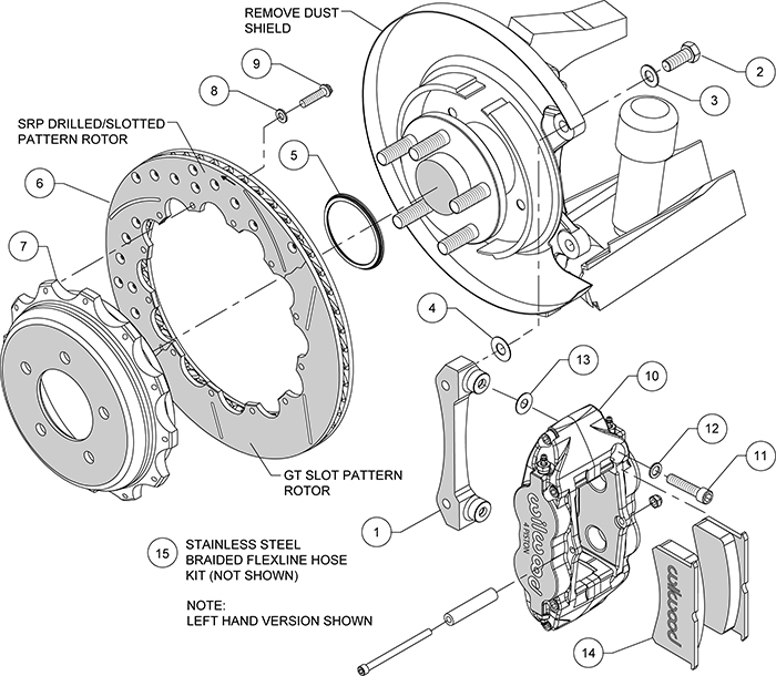 Forged Narrow Superlite 4R Big Brake Rear Brake Kit For OE Parking Brake Assembly Schematic