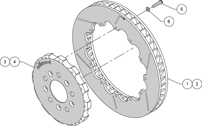 Promatrix Front and Rear Replacement Rotor Kit Assembly Schematic
