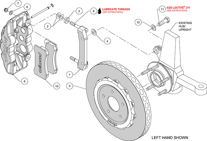 AERO6 WCCB Carbon-Ceramic Big Brake Front Brake Kit Assembly Schematic