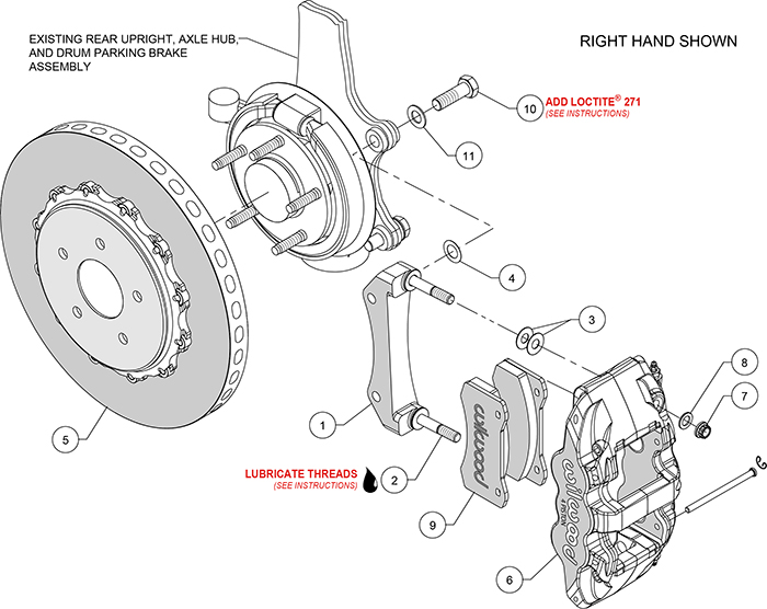 AERO4 WCCB Carbon-Ceramic Big Brake Rear OE Parking Brake Kit Assembly Schematic
