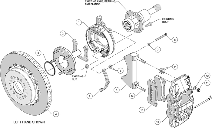 AERO4 WCCB Carbon-Ceramic Big Brake Rear Parking Brake Kit Assembly Schematic