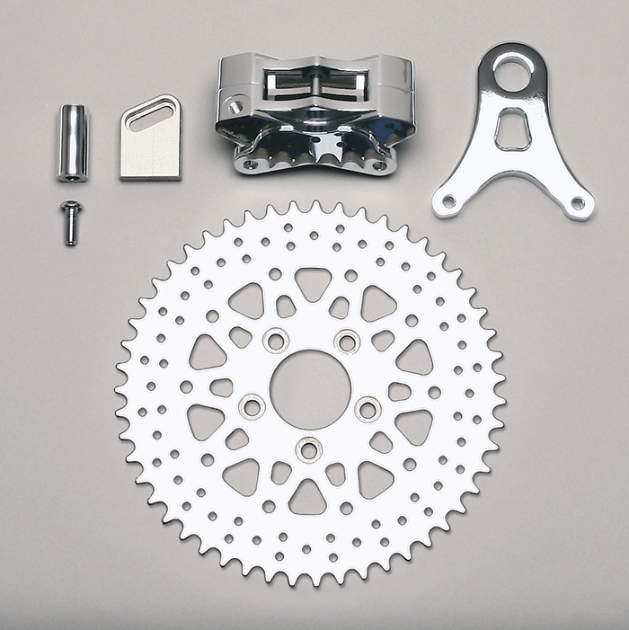 Wilwood GP310 Motorcycle Rear Sprocket Brake Kit Parts Laid Out - Drilled Rotor