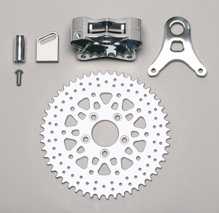 Wilwood GP310 Motorcycle Rear Sprocket Brake Kit Parts Laid Out - Polish Caliper - Drilled Rotor