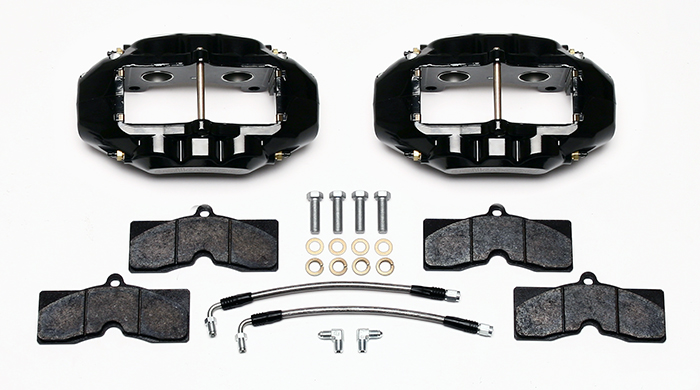Wilwood D8-4 Rear Replacement Caliper Kit Parts Laid Out - Black Powder Coat Caliper