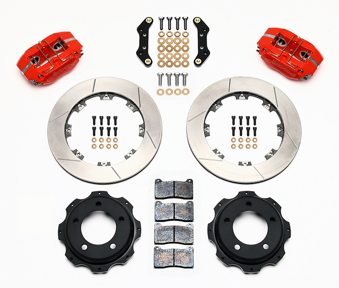 Wilwood Dynapro Rear Brake Kit For OE Parking Brake Parts Laid Out - Red Powder Coat Caliper - SRP Drilled & Slotted Rotor
