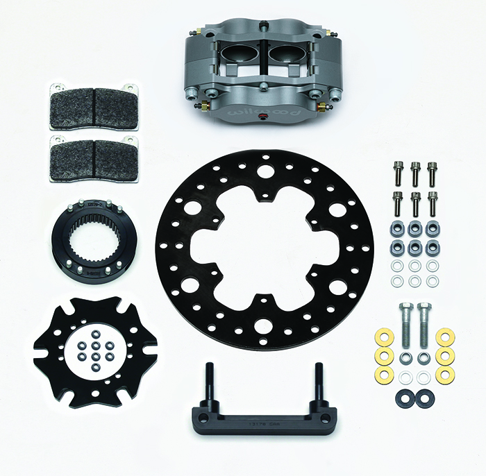 Wilwood Billet Narrow Dynalite Radial Mount Midget Inboard Brake Kit Parts Laid Out - Type III Ano Caliper - Drilled Rotor