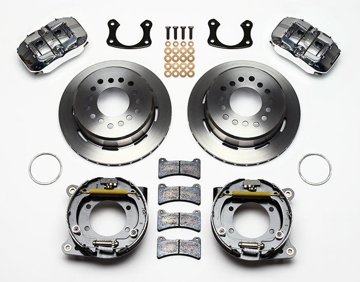 Wilwood Forged Dynapro Low-Profile Rear Parking Brake Kit Parts Laid Out - Polish Caliper - Plain Face Rotor