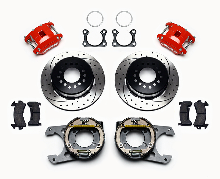 Wilwood D154 Rear Parking Brake Kit Parts Laid Out - Red Powder Coat Caliper - SRP Drilled & Slotted Rotor
