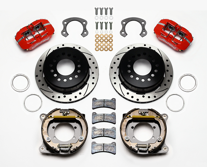 Wilwood Forged Dynapro Low-Profile Rear Parking Brake Kit Parts Laid Out - Red Powder Coat Caliper - SRP Drilled & Slotted Rotor
