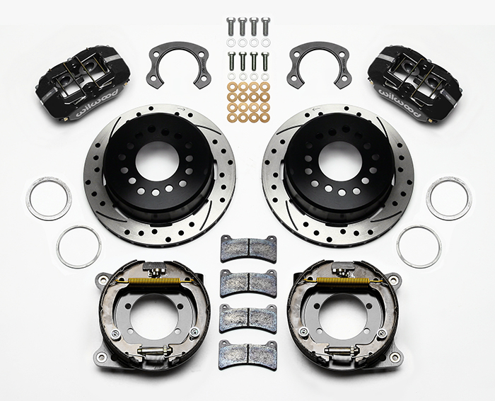 Wilwood Forged Dynapro Low-Profile Rear Parking Brake Kit Parts Laid Out - Black Powder Coat Caliper - SRP Drilled & Slotted Rotor