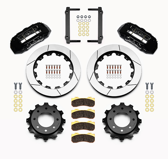 Wilwood TX6R Big Brake Truck Rear Brake Kit Parts Laid Out - Black Powder Coat Caliper - GT Slotted Rotor
