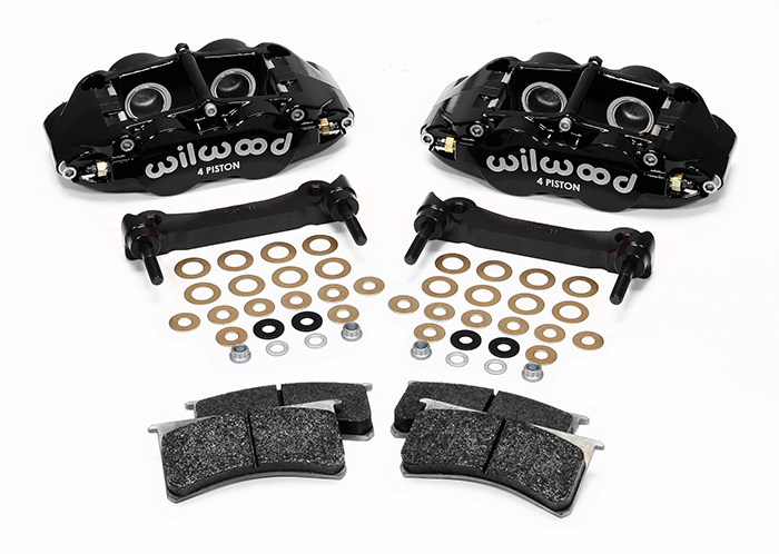 Wilwood Forged Narrow Superlite 4R Caliper and Bracket Upgrade Kit for Corvette C5-C6 Parts Laid Out - Black Powder Coat Caliper
