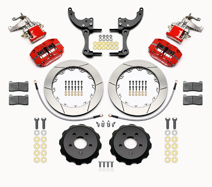 Wilwood Dynapro Radial-MC4 Rear Parking Brake Kit Parts Laid Out - Red Powder Coat Caliper - GT Slotted Rotor