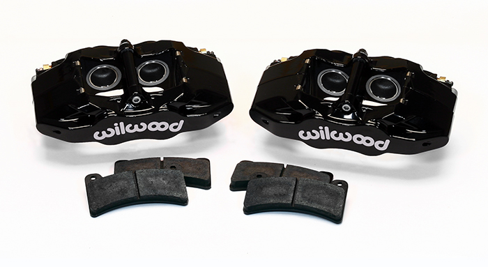 Wilwood DPC56 Rear Replacement Caliper Kit Parts Laid Out - Black Powder Coat Caliper
