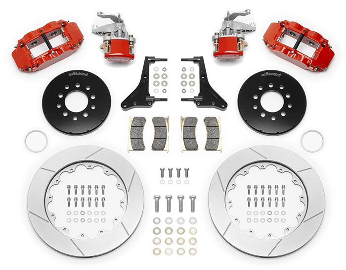Wilwood Forged Narrow Superlite 4R-MC4 Big Brake Rear Parking Brake Kit Parts Laid Out - Red Powder Coat Caliper - GT Slotted Rotor