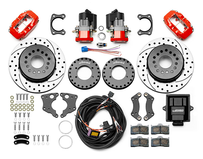 Wilwood Forged Dynalite Rear Electronic Parking Brake Kit Parts Laid Out - Red Powder Coat Caliper - SRP Drilled & Slotted Rotor