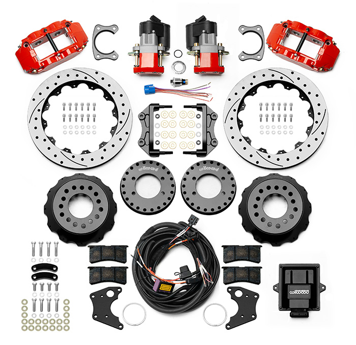 Wilwood Forged Narrow Superlite 4R Big Brake Rear Electronic Parking Brake Kit Parts Laid Out - Red Powder Coat Caliper - SRP Drilled & Slotted Rotor