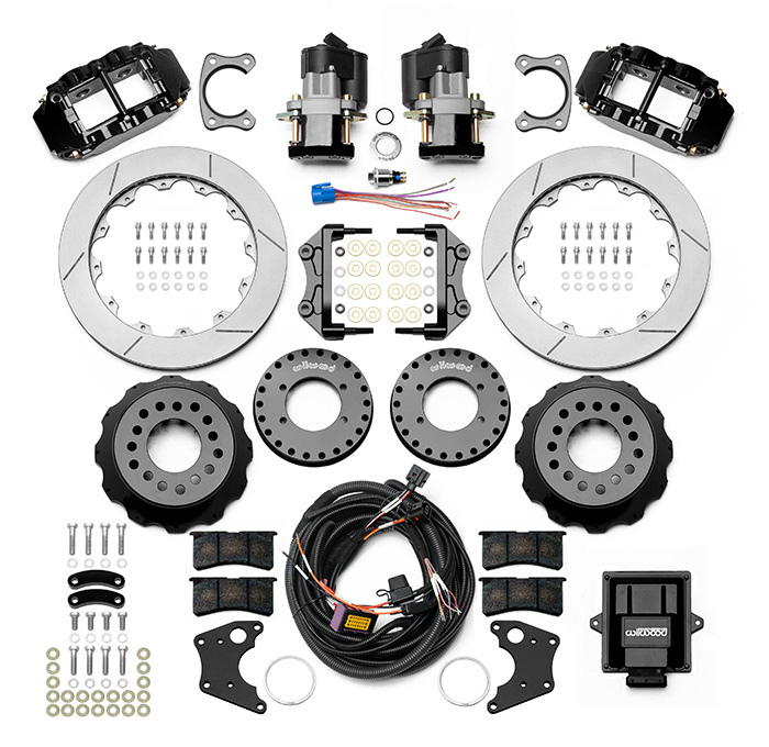 Wilwood Forged Narrow Superlite 4R Big Brake Rear Electronic Parking Brake Kit Parts Laid Out - Black Powder Coat Caliper - GT Slotted Rotor