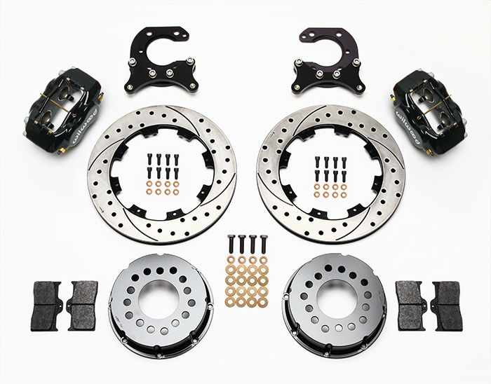 Wilwood Forged Dynalite Pro Series Rear Brake Kit Parts Laid Out - Black Powder Coat Caliper - SRP Drilled & Slotted Rotor