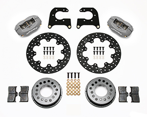 Wilwood Forged Dynalite Rear Drag Brake Kit Parts Laid Out - Type III Ano Caliper - Drilled Rotor