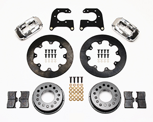 Wilwood Forged Dynalite Rear Drag Brake Kit Parts Laid Out - Polish Caliper - Plain Face Rotor