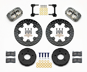 Wilwood Dynapro Radial Front Drag Brake Kit Parts Laid Out - Type III Ano Caliper - Drilled Rotor